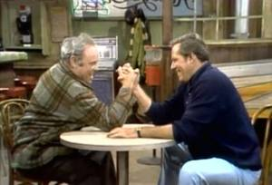 Archie Bunker finds out his macho buddy is gay on an episode All in the Family